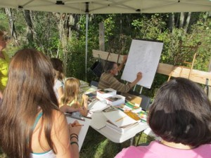 Gordon Morrison demonstrating nature drawing